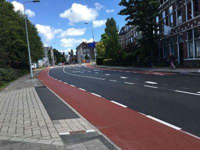 Groot onderhoud Haagweg in Leiden, nieuwe situatie. Klik om een grotere foto te openen.